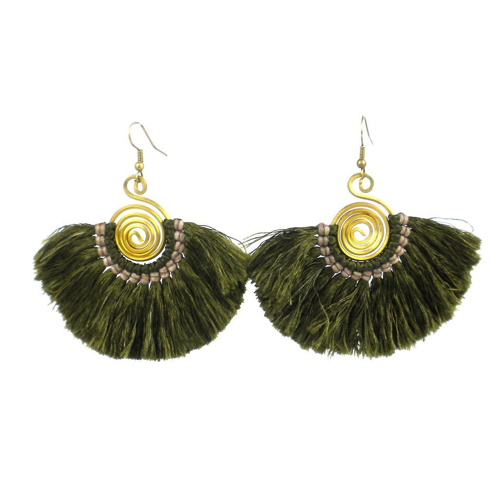 Flamenco Fringe Earrings - Moss - Global Groove (J)