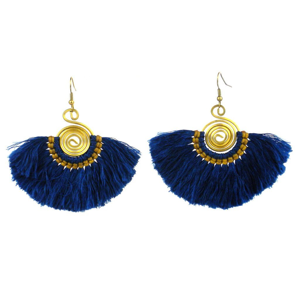 Flamenco Fringe Earrings - True Blue - Global Groove (J)