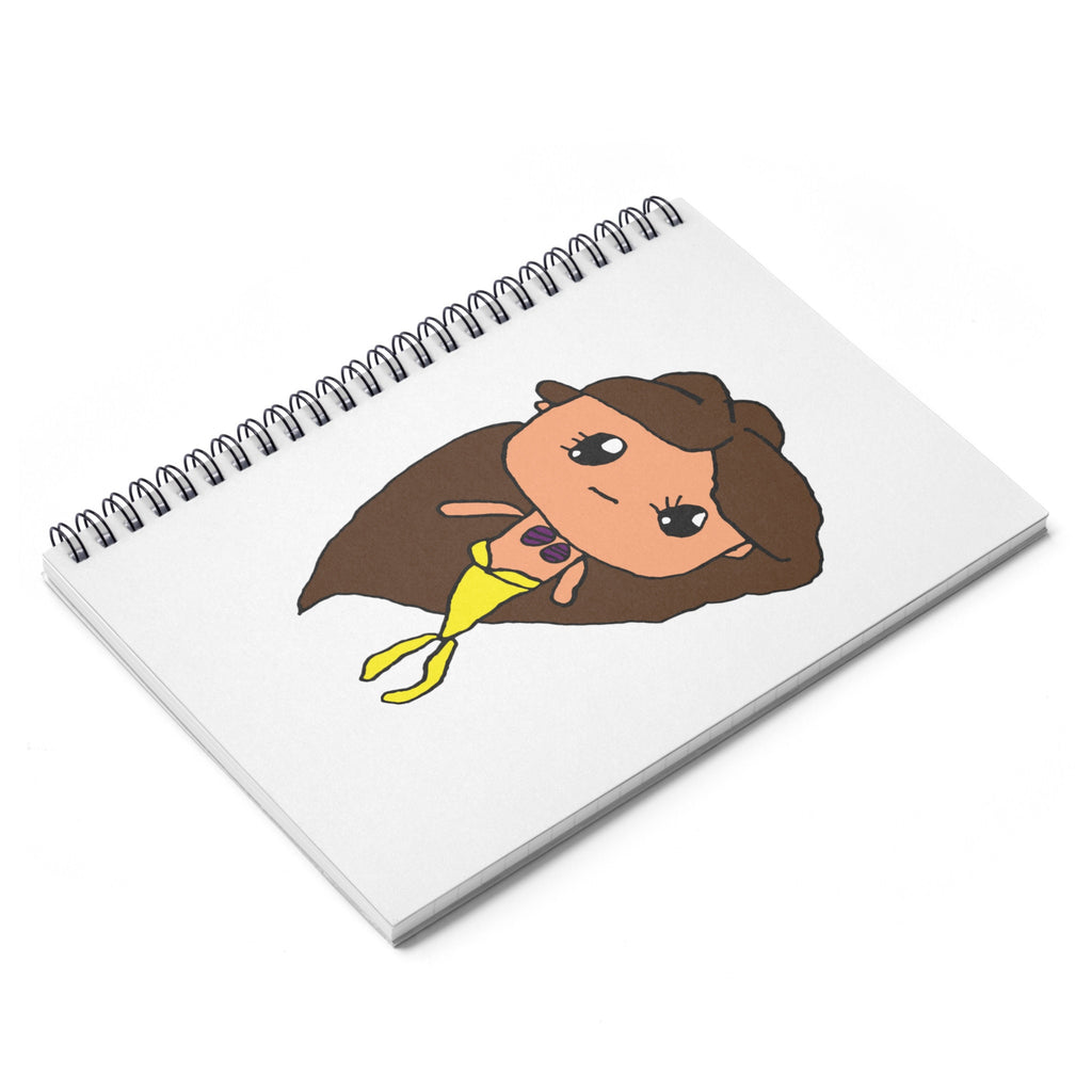 Kendrick's Kreations Mermaid Spiral Notebook - Ruled Line (Brown Hair)