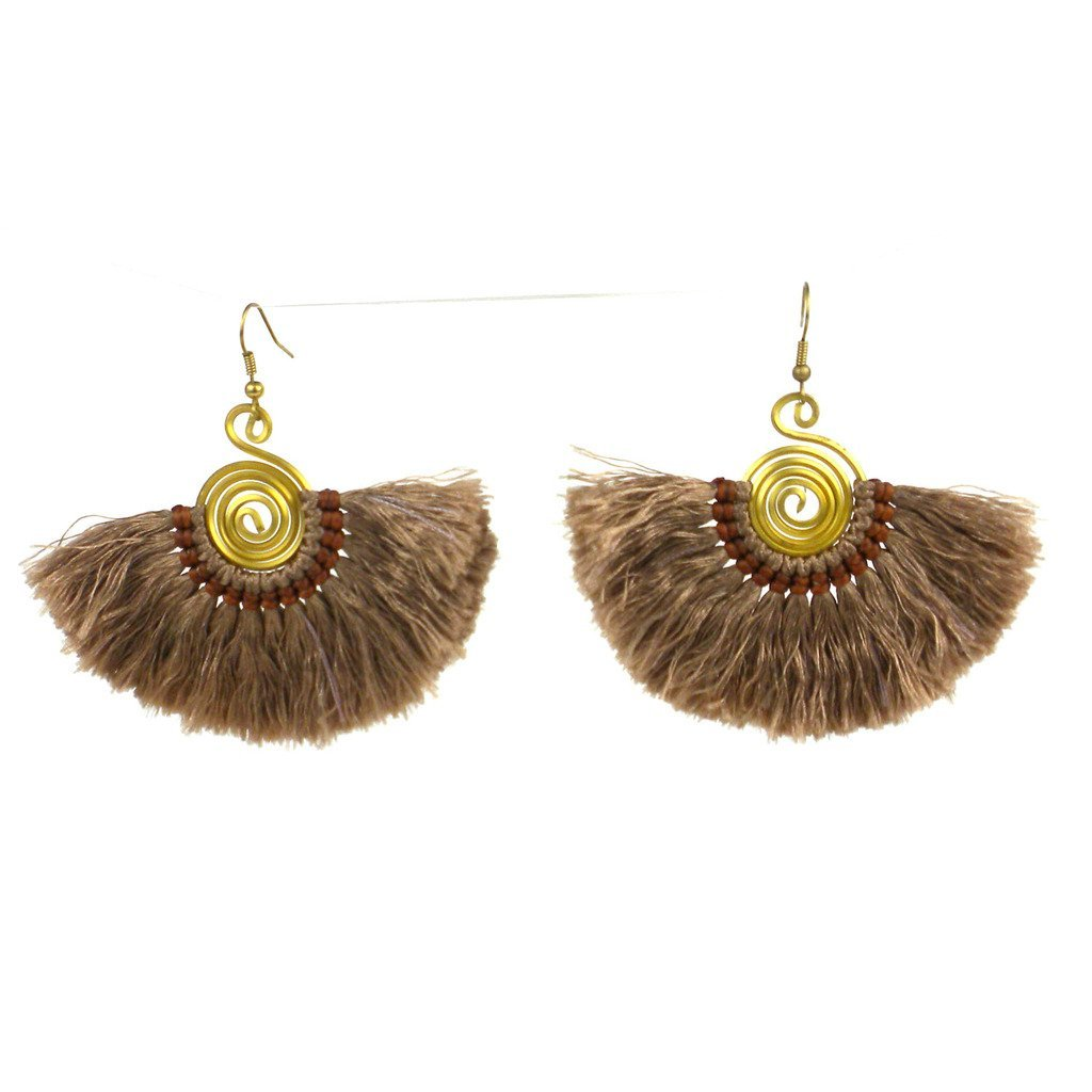 Flamenco Fringe Earrings - Taupe - Global Groove (J)