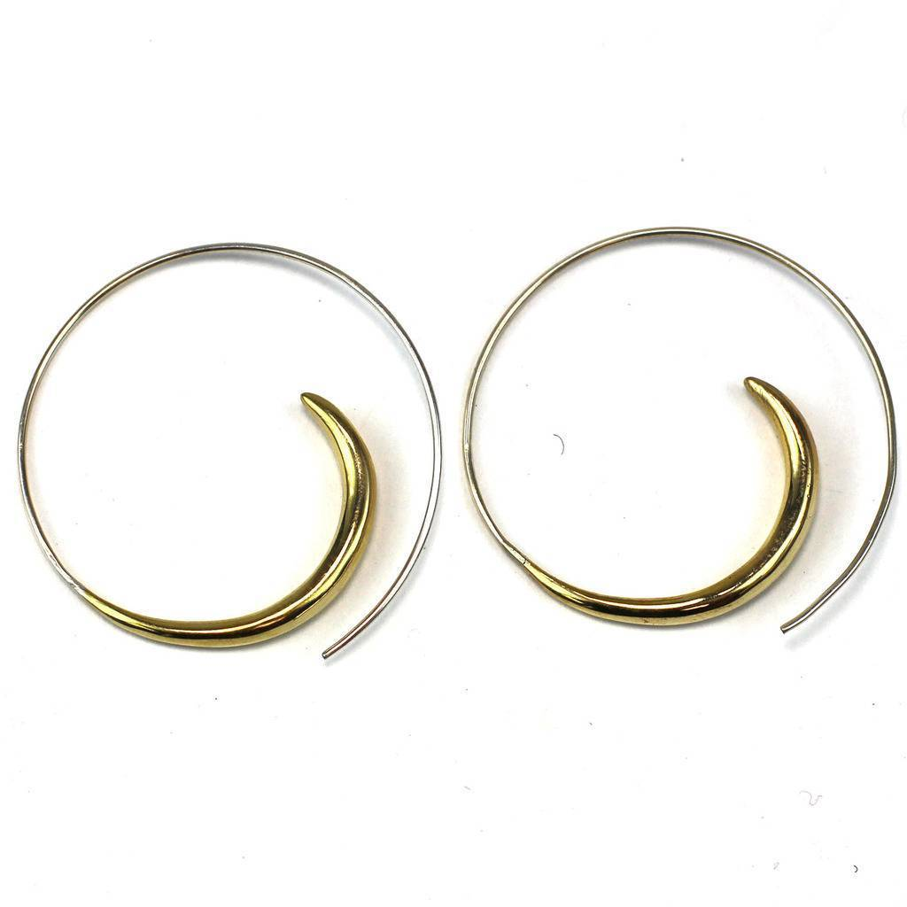 Brass Rip Curl Spiral Earrings - DZI (J)