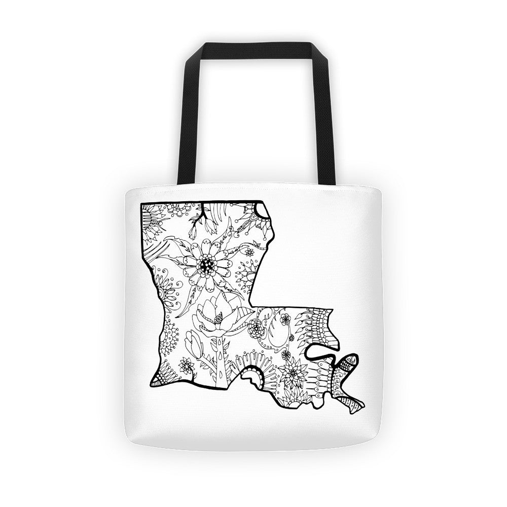Tote bag drawing - Color It Yours Louisiana Tote Bag