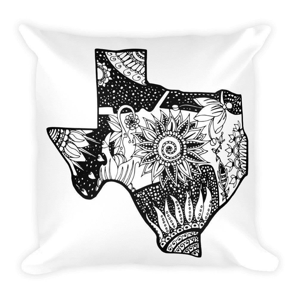 Black & White Floral Texas Square Pillow