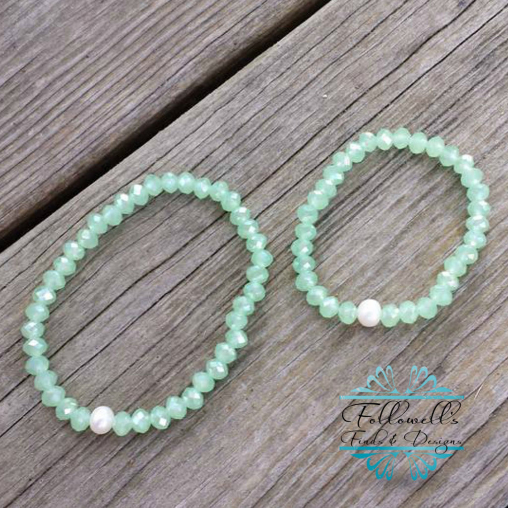 Mint Glass Bead & White Pearl Stretch Stack Bracelet