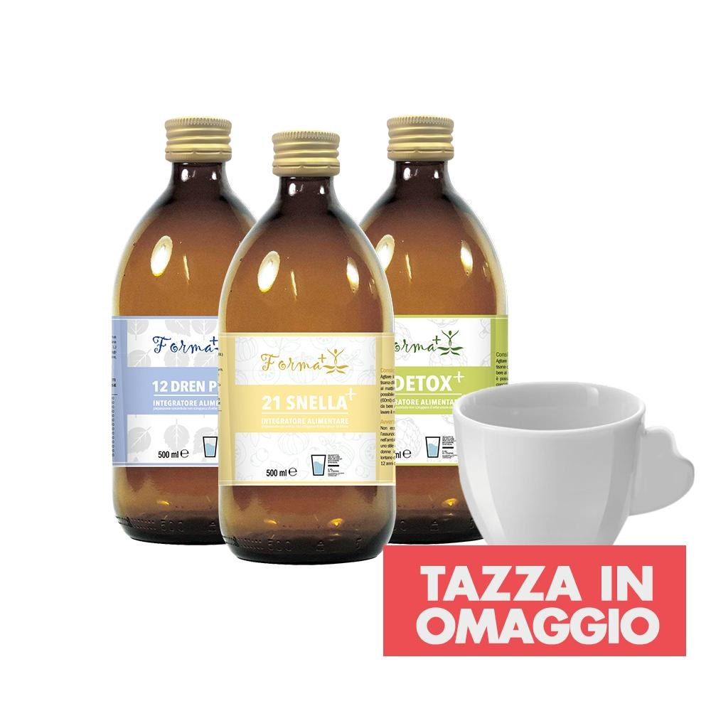 Tris Tisane Snellenti (Snellabella + Drenage + Purity) + Tazza OMAGGIO - curaebenessere.it