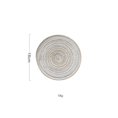 6pcs/set Round Ramie Insulation Pad Solid Placemats Linen Non Slip Table Mats Kitchen Accessories Decoration Home Pad Coaster