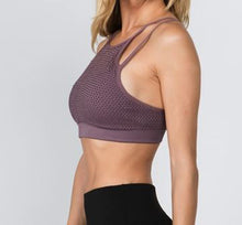 Load image into Gallery viewer, Halter Neck Mesh Overlay Sports Bra