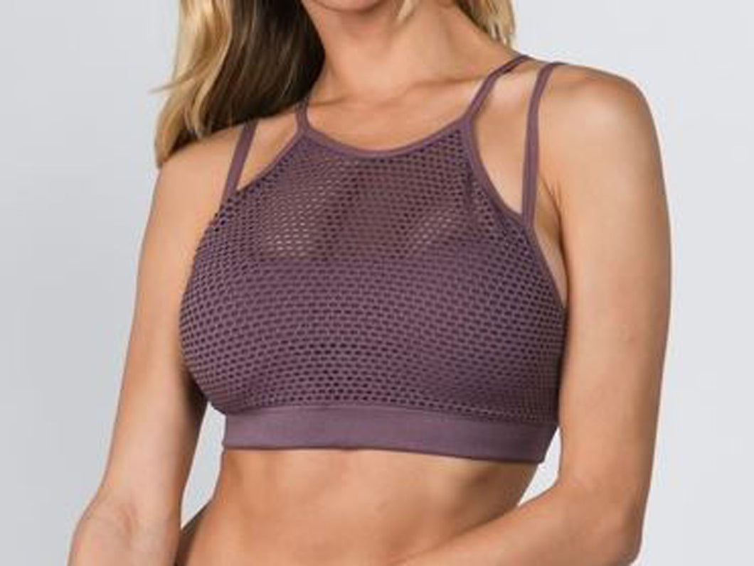 Halter Neck Mesh Overlay Sports Bra