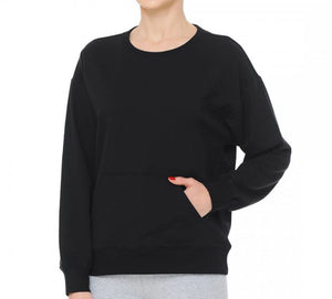 Pullover Round Neck Loungewear Sweatshirt with Kangaroo Pockets in Super Soft French Terry