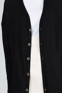 Button Down Long Sleeve Open Front Knit Cardigan