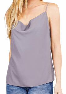 Cowl Drape Neck Thin Strap Cami Top