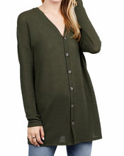 Load image into Gallery viewer, Button Down Long Sleeve Open Front Knit Cardigan