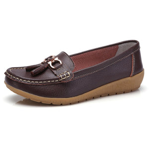 Genuine Leather Slip On Women's Loafers