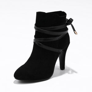 Flock Lace up Ankle Boots for Women
