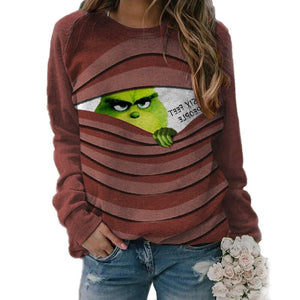 Green Grinch Print Long Sleeve  Casual Loose Pullover for Woman