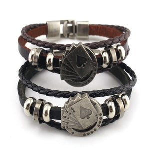 Cowhide Playing Card Bracelet for Men and Women