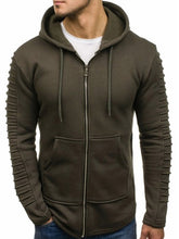 Load image into Gallery viewer, Solid Sleeve Pleated Pocket Full Zipper Fleece Hoodie