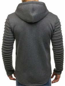 Solid Sleeve Pleated Pocket Full Zipper Fleece Hoodie