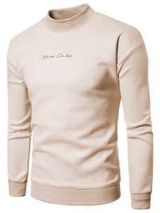 Chest Letter Print Solid Color Suede Sweatshirt