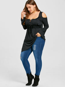Plus Size Lace Up Asymmetrical T-shirt