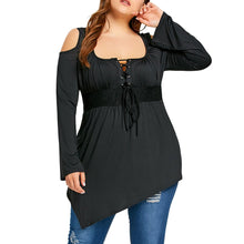 Load image into Gallery viewer, Plus Size Lace Up Asymmetrical T-shirt