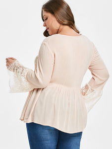 Lace Panel Tassels Plus Size Blouse
