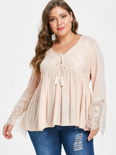 Load image into Gallery viewer, Lace Panel Tassels Plus Size Blouse