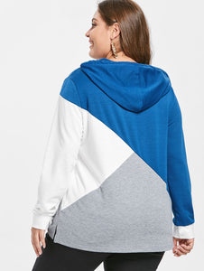 Color Block Plus Size Drawstring Hoodie