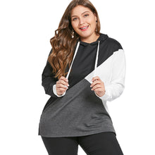 Load image into Gallery viewer, Color Block Plus Size Drawstring Hoodie