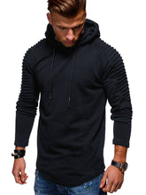 Load image into Gallery viewer, Solid Color Pleated Sleeve Long Fleece Hoodie