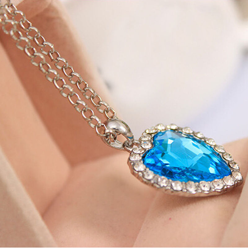 Titanic Ocean Crystal Heart Pendant Necklace