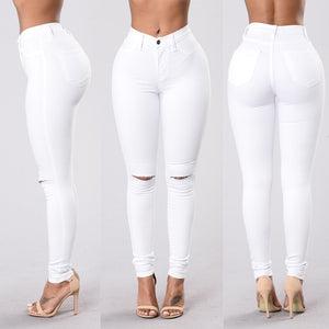 Slim Ripped Denim Pencil Pants for Women