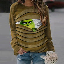 Load image into Gallery viewer, Green Grinch Print Long Sleeve  Casual Loose Pullover for Woman