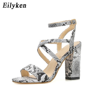 Open Toe Snake PU Leather Shoes for Women