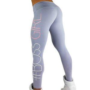 Boss Girl Printing Slim High Waist Fitness Leggings