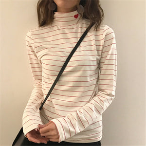 Hearts Turtleneck Casual Cotton Top for Women