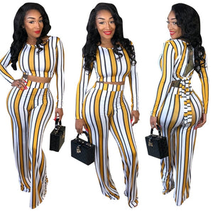 Striped Print 2-Piece Set for Women