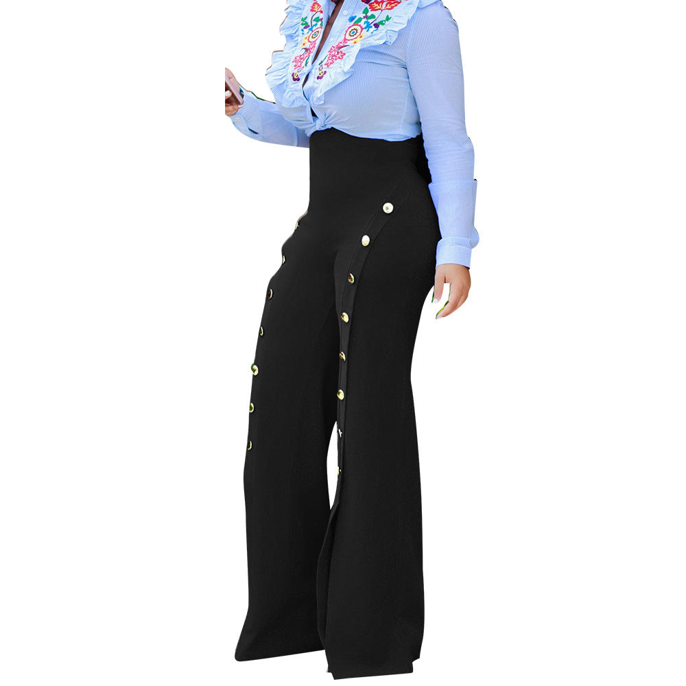 Women Palazzo High Waist Wide Leg Pants