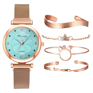 Quartz Wrist Watch Bracelet 5pc. Set
