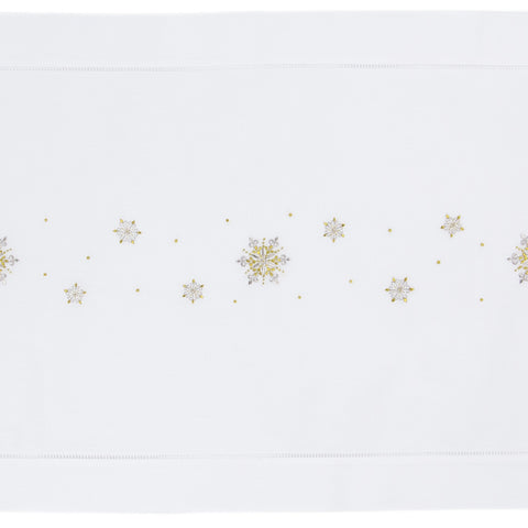 Snowflake Glitter<br>Table Runner - White Cotton