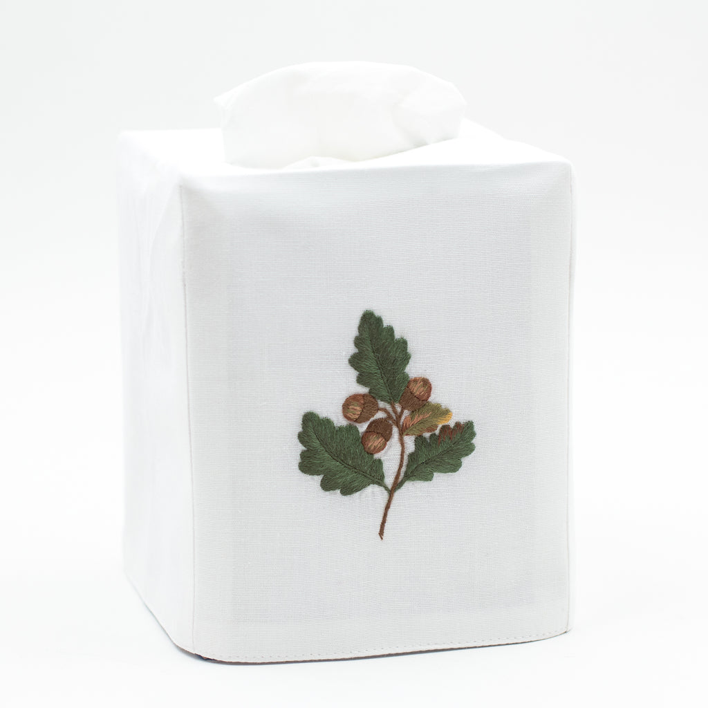 Acorn<br>Tissue Box Cover - White Cotton