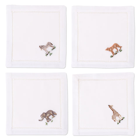 African Animals<br>Cocktail Set - White Cotton