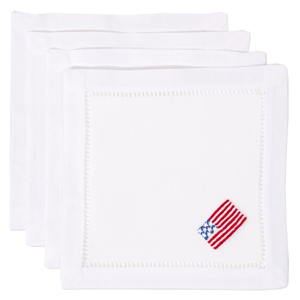 American Flag<br>Cocktail Set - White Cotton