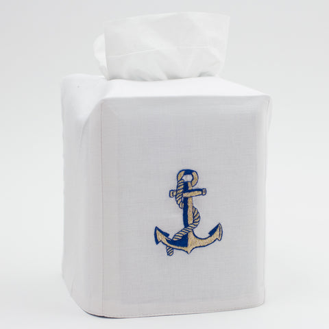 Anchor Navy & Gold<br>Tissue Box Cover - White Cotton