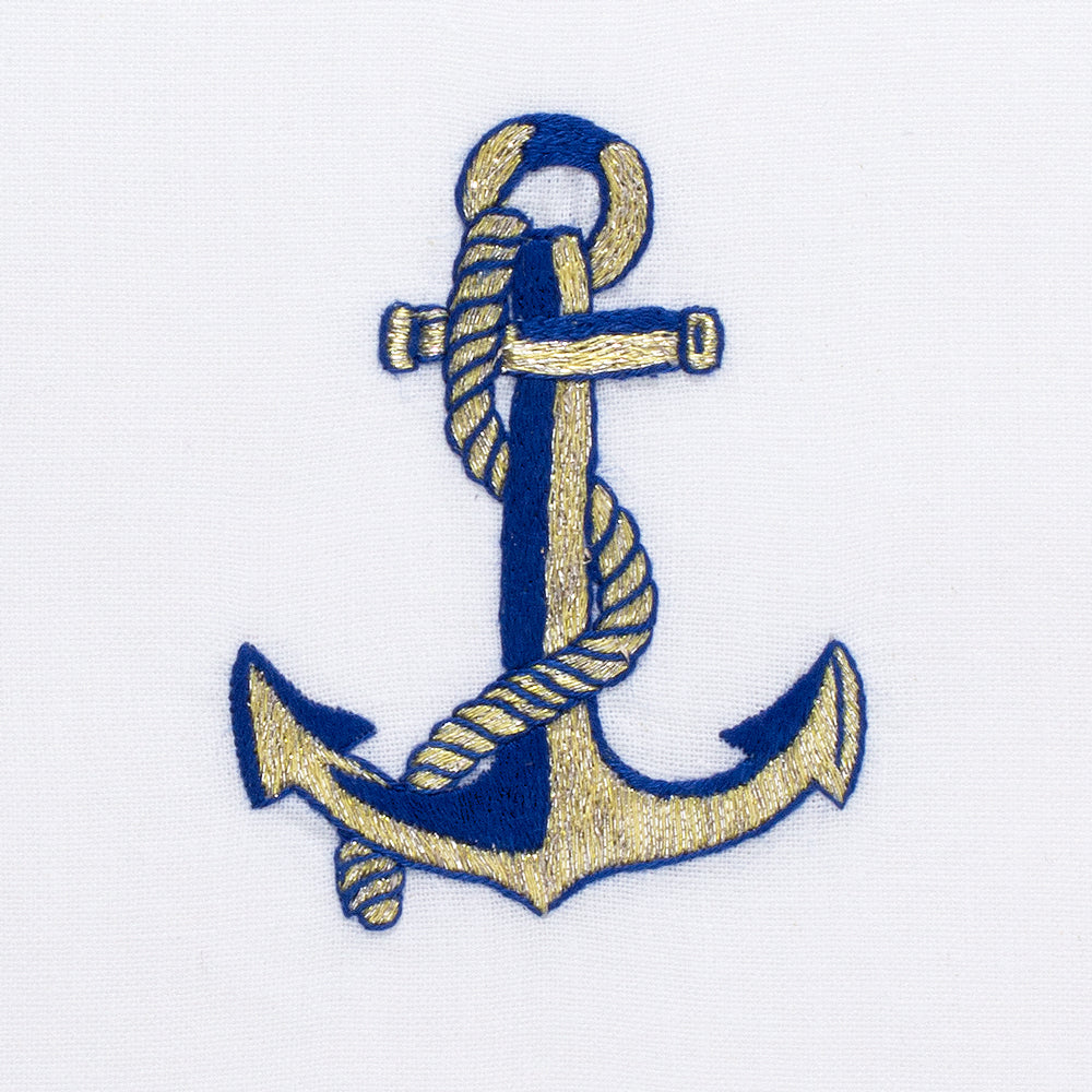 Anchor Navy & Gold<br>Hand Towel - White Cotton