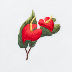Anthurium<br>Hand Towel - White Cotton
