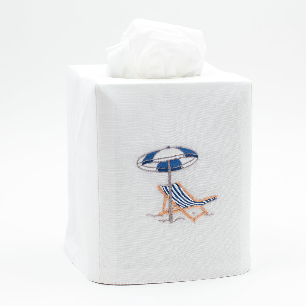 Beach Chair Modern<br>Tissue Box Cover - White Cotton