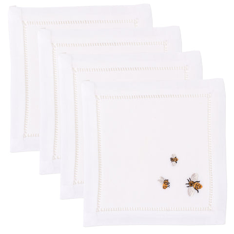 Bees<br>Cocktail Set - White Cotton