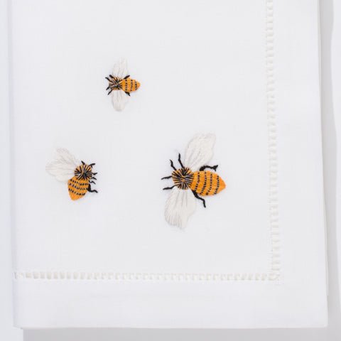 Bees<br>Napkin - White Cotton