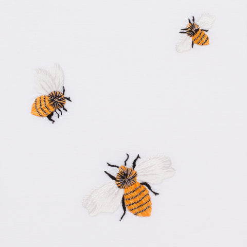 Bees<br>Hand Towel - White Cotton